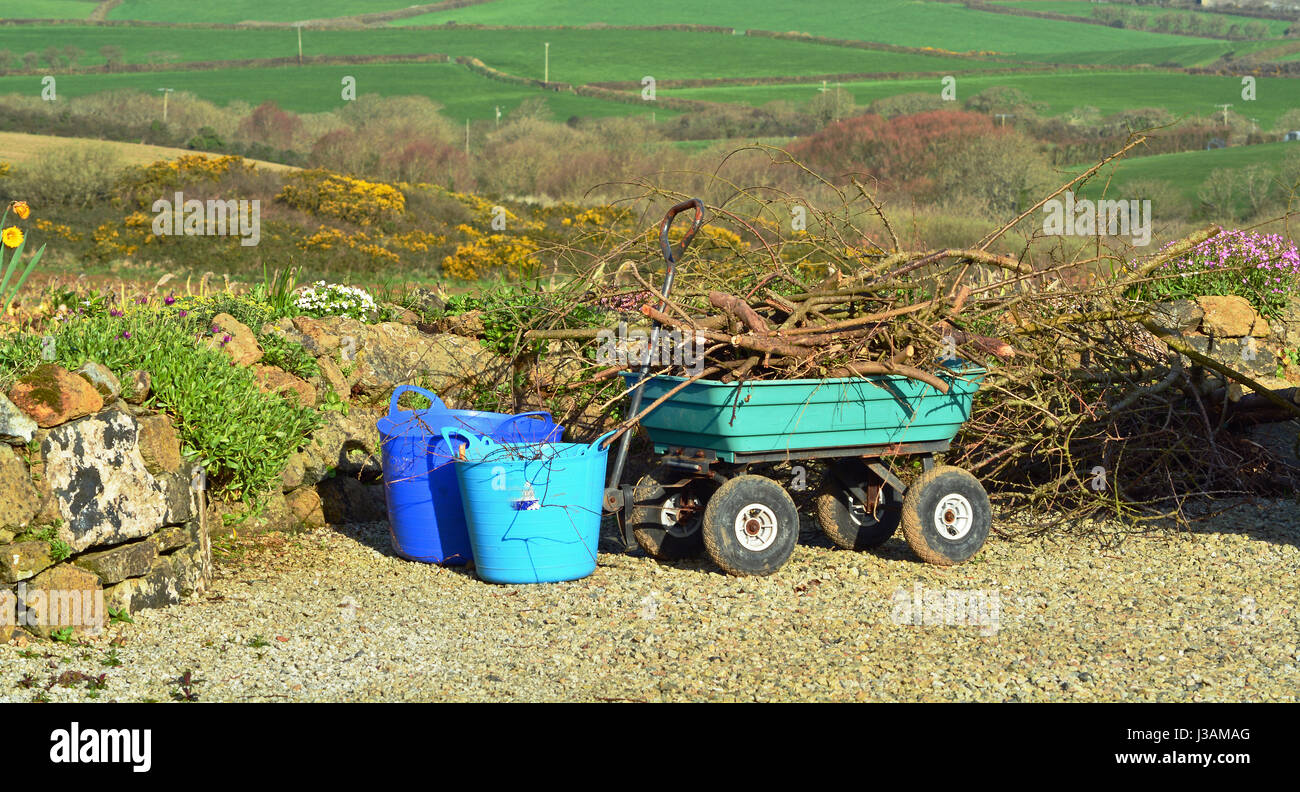 Tidying Up The Garden - Stock Image
