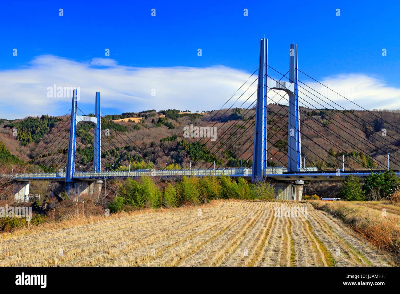 Tomei-Ashigarabashi Bridge on Tomei Expressway in Oyama-cho Shizuoka Japan - Stock Image