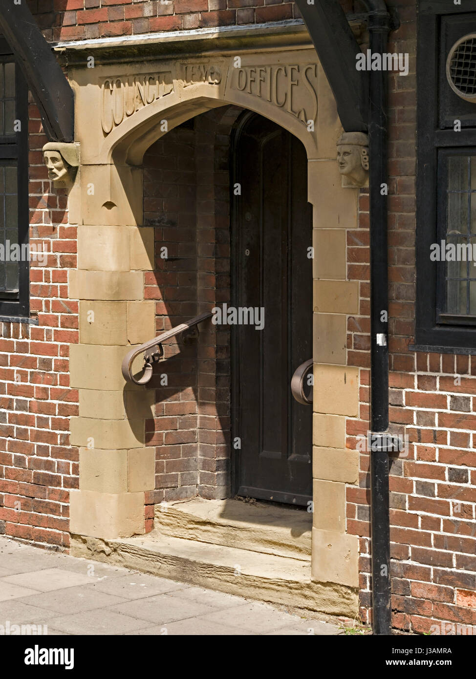 Entrance doorway, Old council offices, Fisher Street, Lewes, East Sussex, England, UK - Stock Image