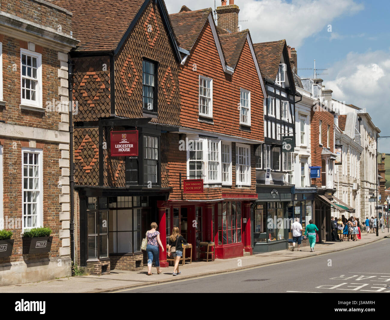 Old traditional shopfronts on Lewes High Street, East Sussex, England, UK - Stock Image