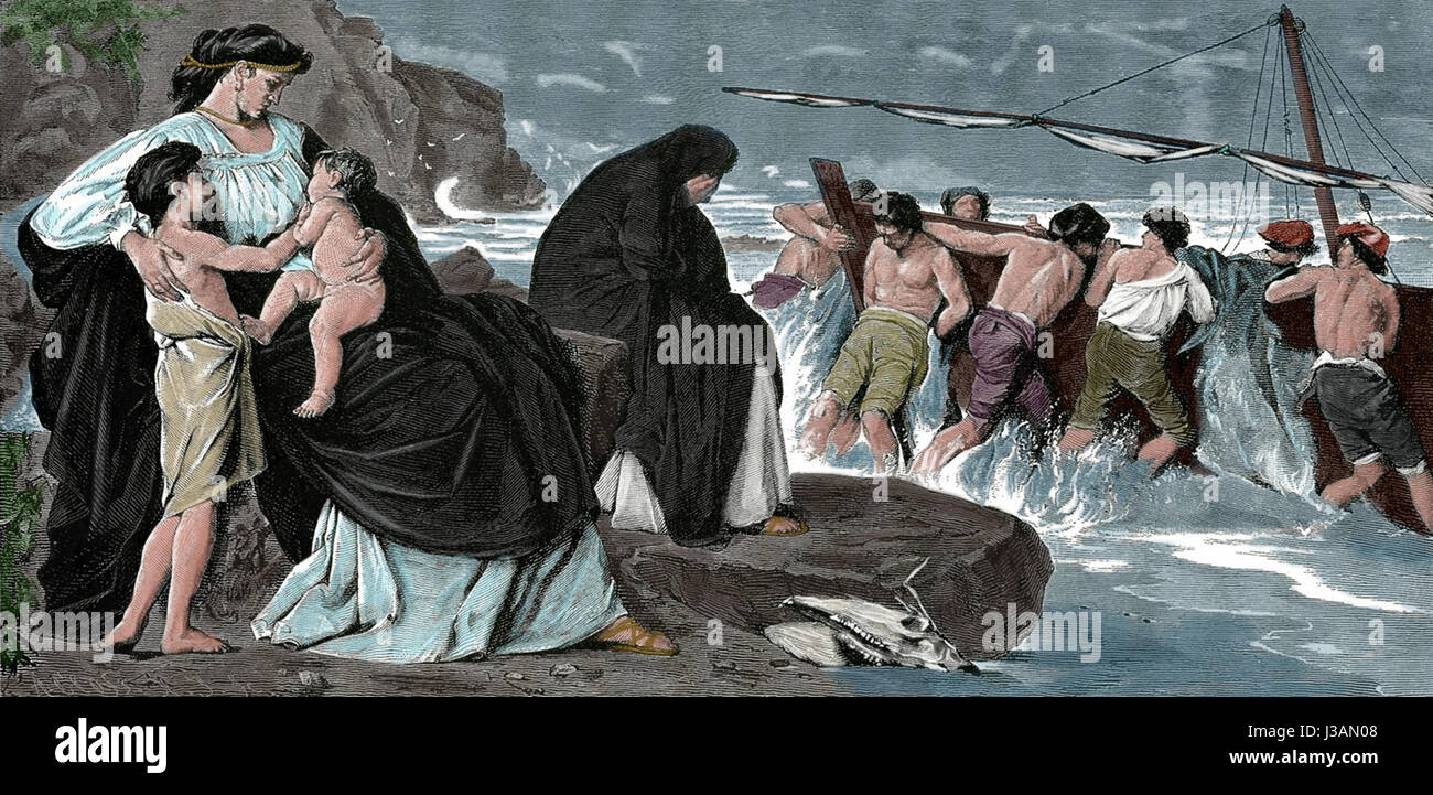The abandonment of Medea. Engraving 19th, inspired by the painting by Anselm Feuerbach. - Stock Image