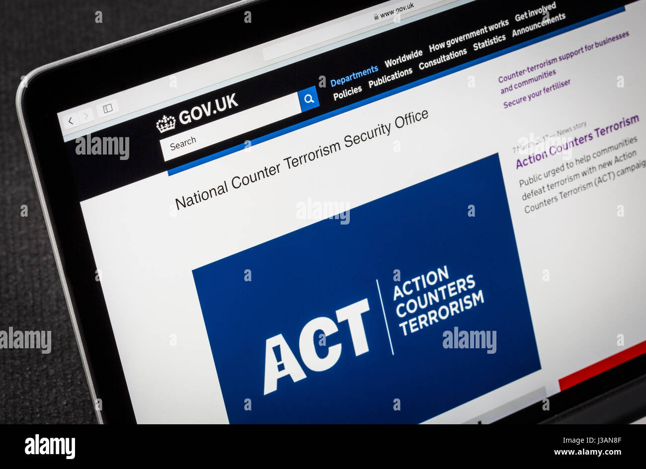 UK Government counter terrorism website - Stock Image