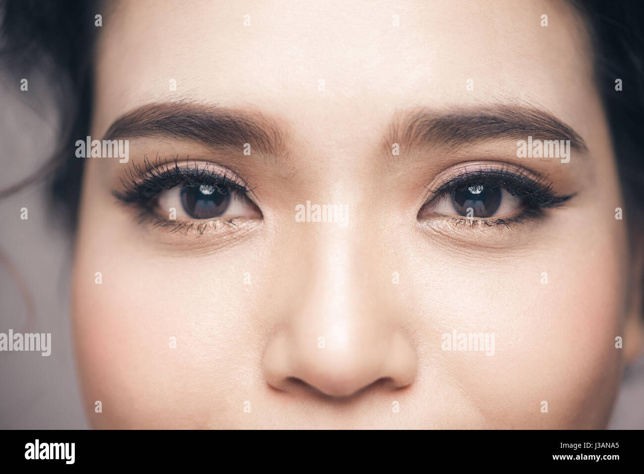 6d49327b43d Asian model eye close-up with long eyelashes. Selective focus Stock ...