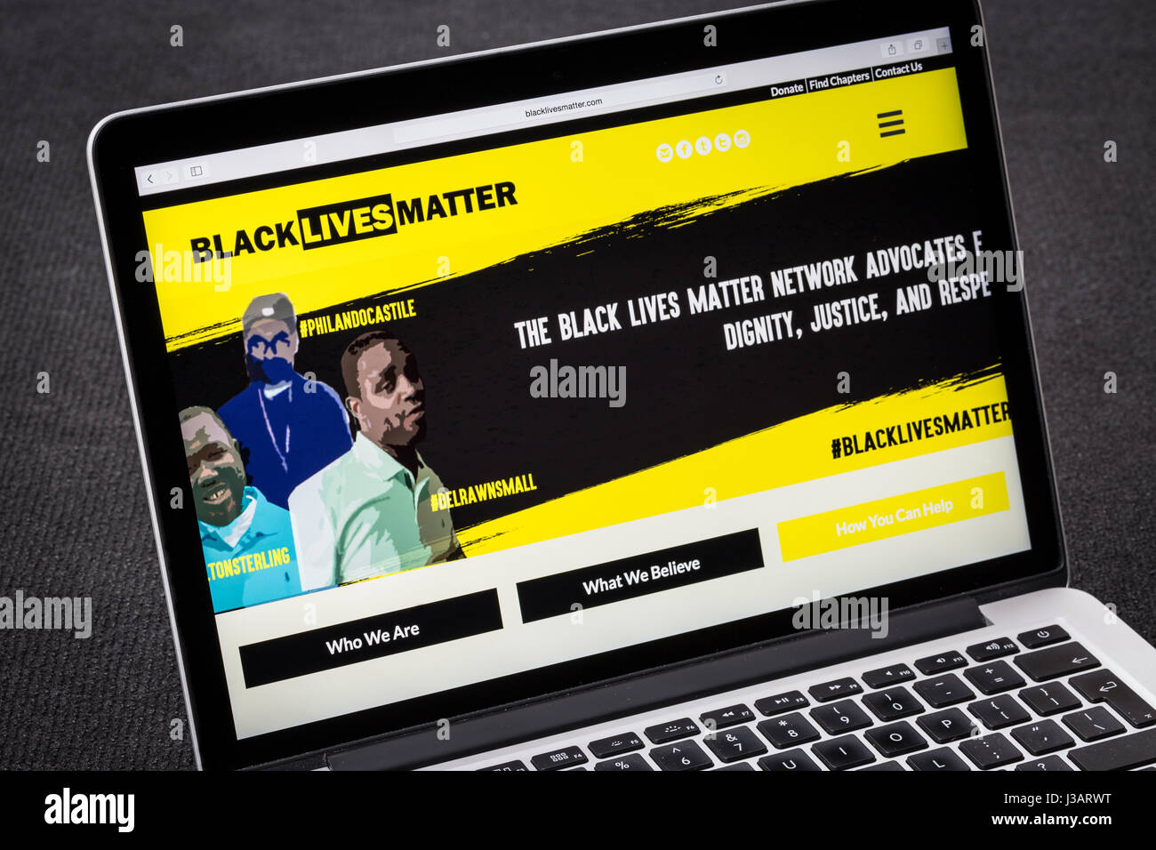 Black Lives Matter website - Stock Image