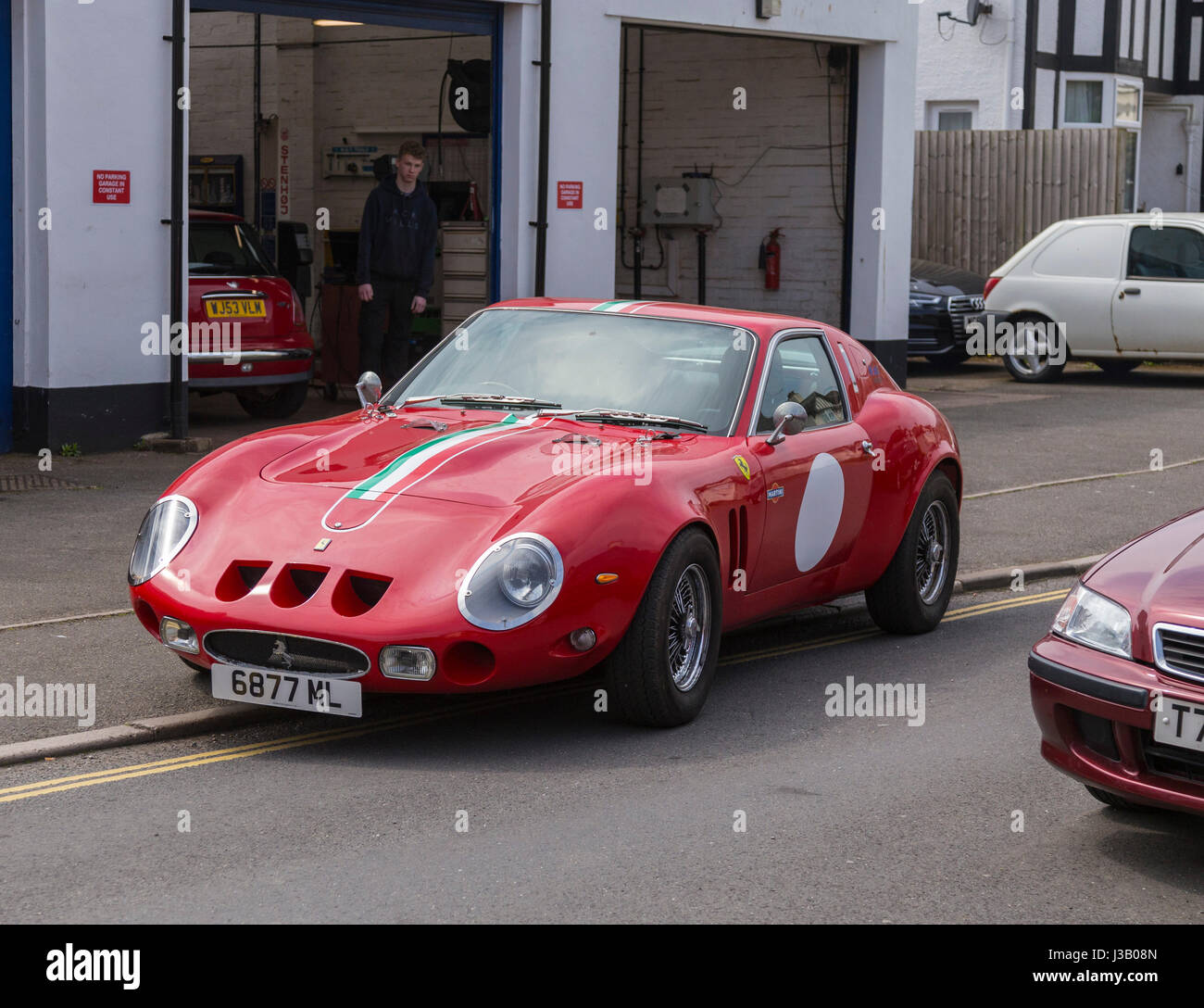 Sidmouth, UK. 4th May, 2017. Ferrari 250 GTO, the world's most expensive car, out on the streets of Sidmouth. - Stock Image