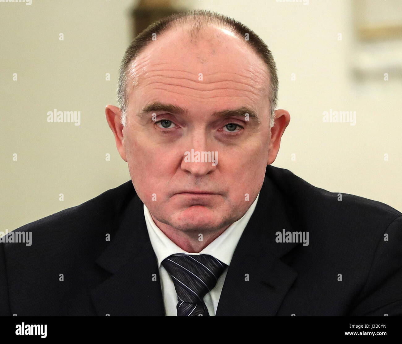 Moscow, Russia. 4th May, 2017. Chelyabinsk Region Governor Boris Dubrovsky at a joint meeting of the State Council - Stock Image