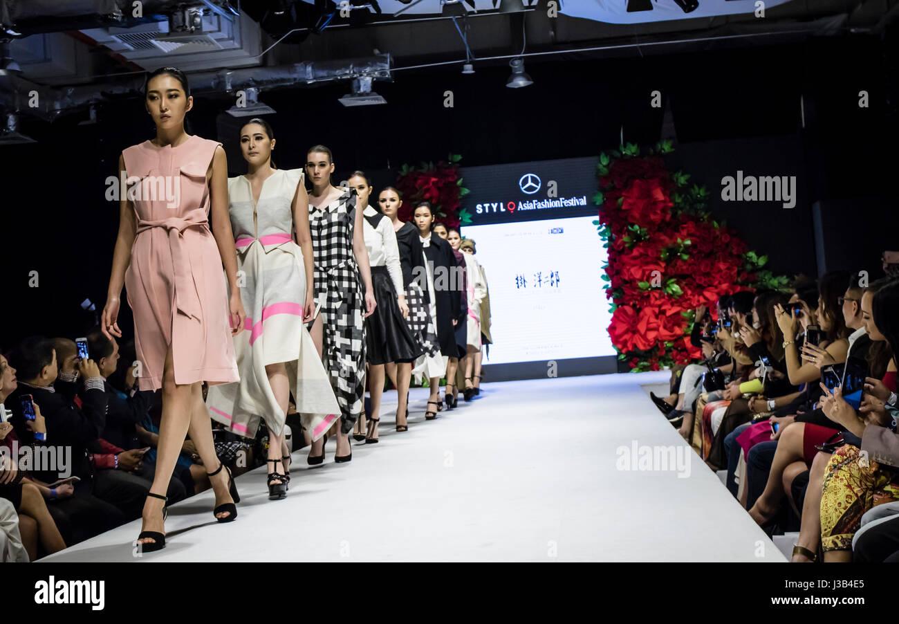 Kuala Lumpur, Malaysia. 4th May, 2017. Day three of Mercedes STYLO Asia Fashion Festival 2017 in Kuala Lumpur. Designer - Stock Image