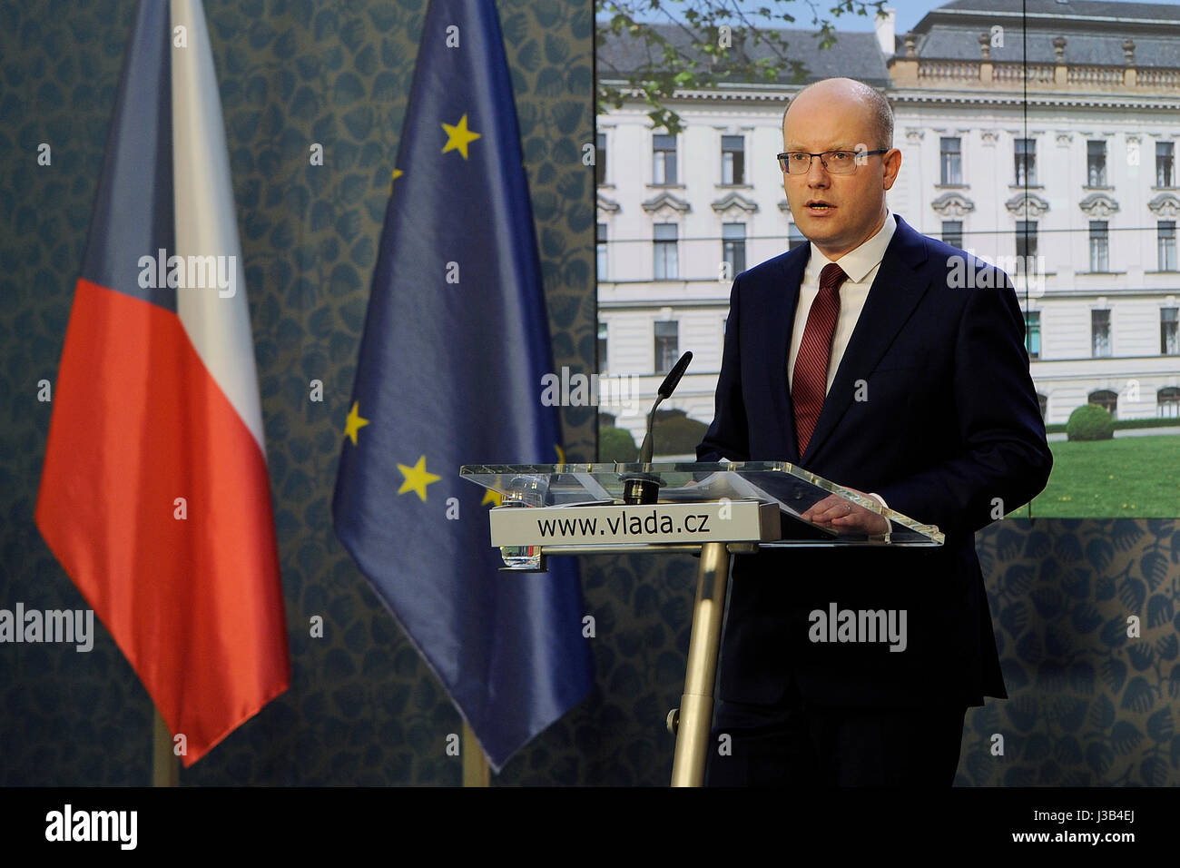 Prague, Czech Republic. 05th May, 2017. Czech Prime Minister Bohuslav Sobotka (Social Democrats, CSSD), pictured, - Stock Image
