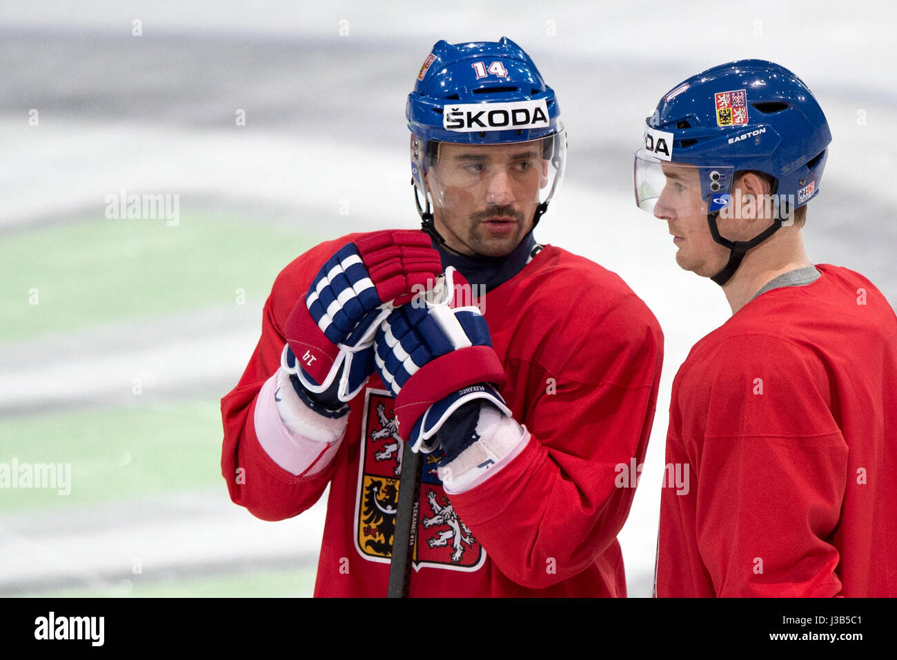 From Left Tomas Plekanec And Roman Cervenka Attend The Training Session Of Czech National Hockey Team Prior To Match Against Canada During The Ice Hockey