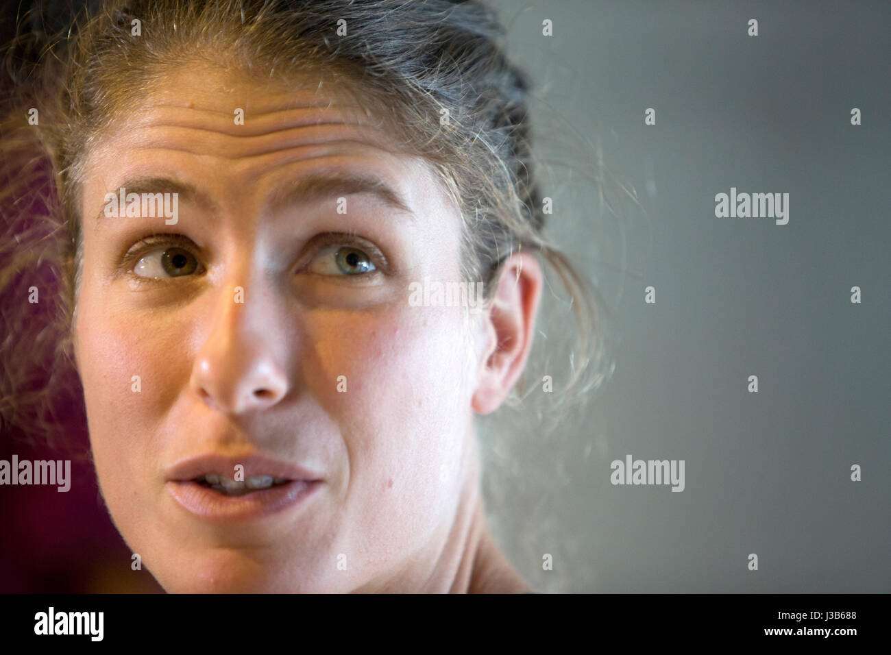 Madrid, Spain. 5th May, 2017. Johanna Konta Cuenta during the draw of the WTA Premiere Mandatory  at the Mutua de - Stock Image