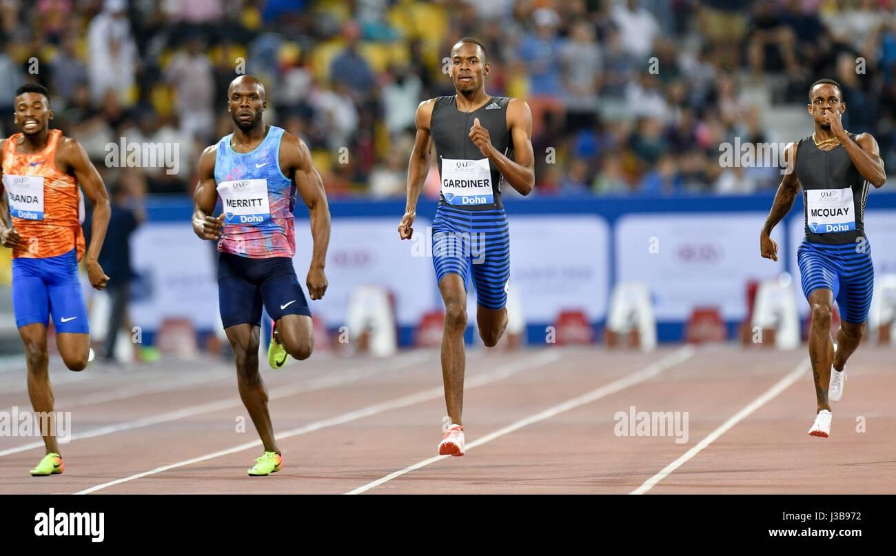 Doha, Qatar. 5th May, 2017. Karabo Sibanda of Botswana, LaShawn Merritt of the United States, Steven Gardiner of - Stock Image