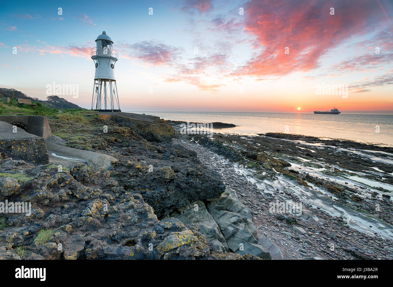 Black Nore lighthouse at Portishead in Somerset - Stock Image