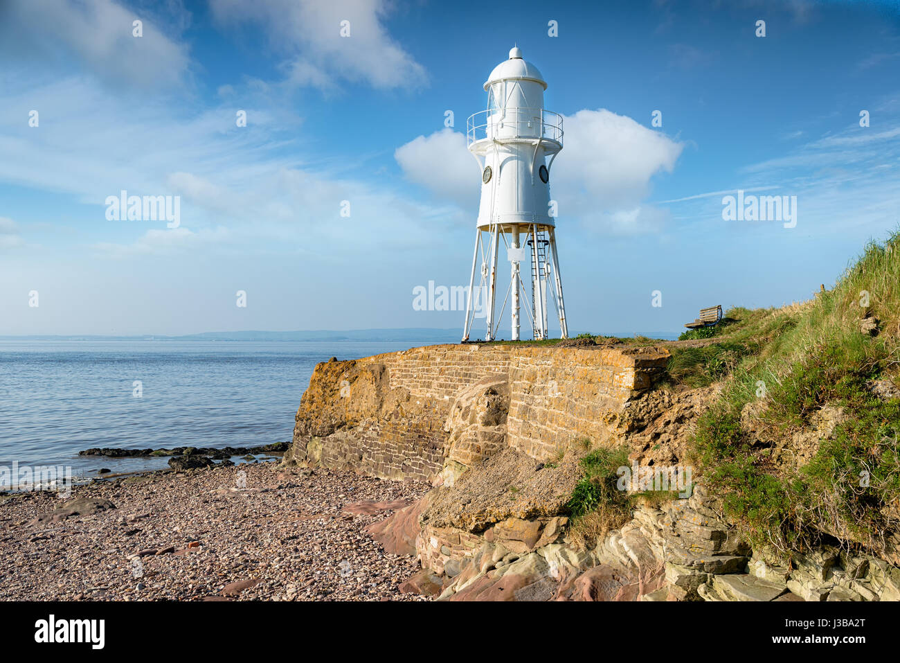 Black Nore Lighthouse on the Bristol Channel at Portishead - Stock Image