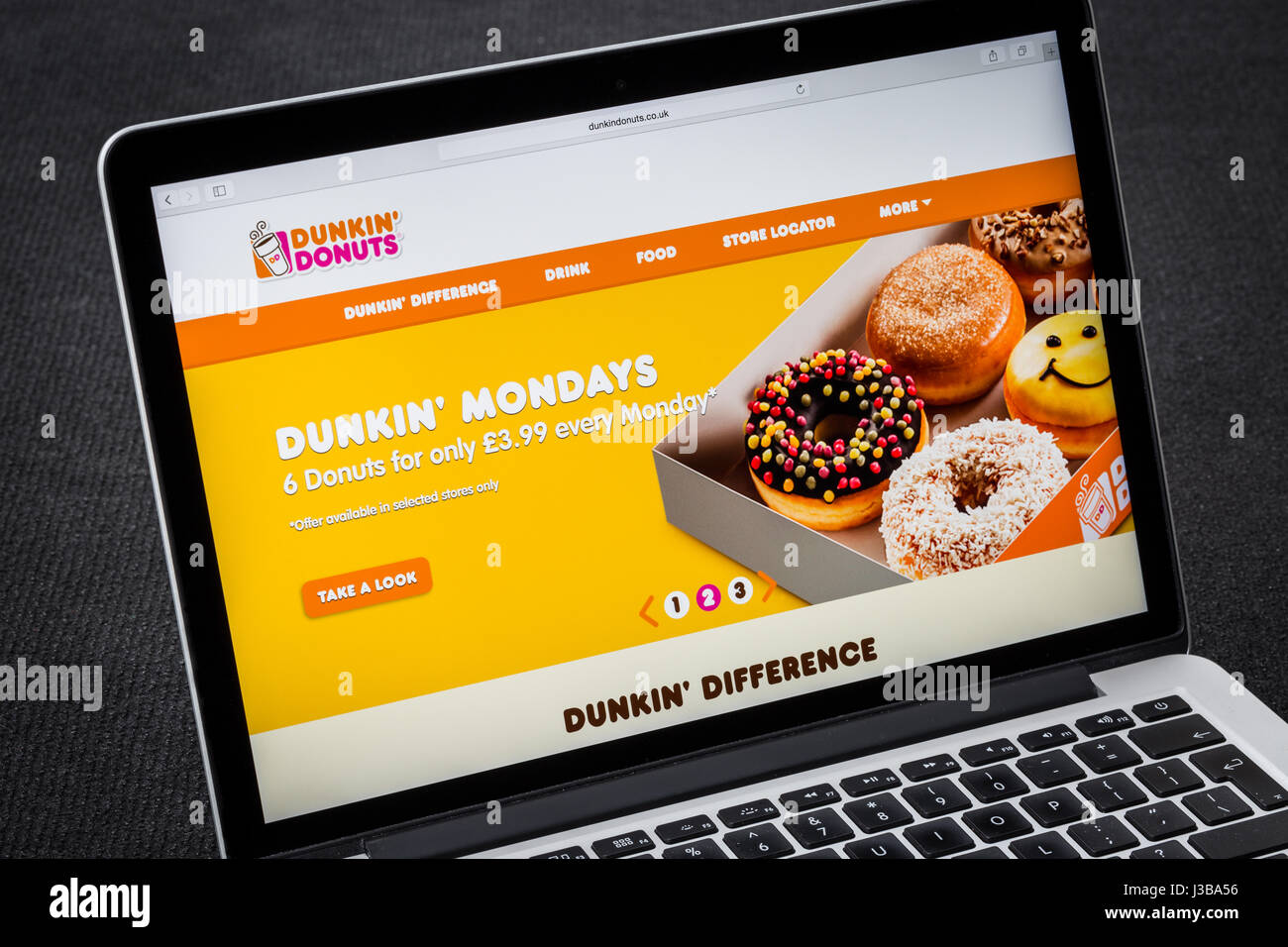 Dunkin Donuts website - Stock Image