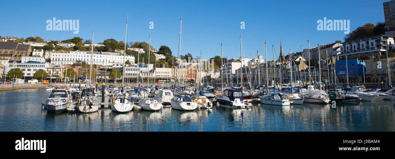 Torquay Devon harbour with boats and yachts panoramic view - Stock Image