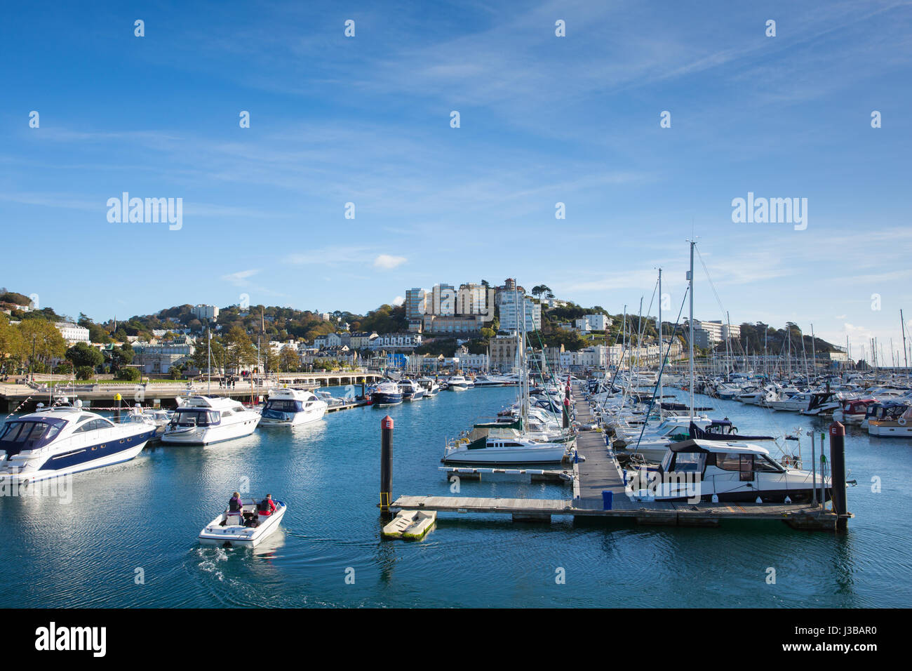 Torquay marina Devon UK with boats and yachts on beautiful day on the English Riviera - Stock Image