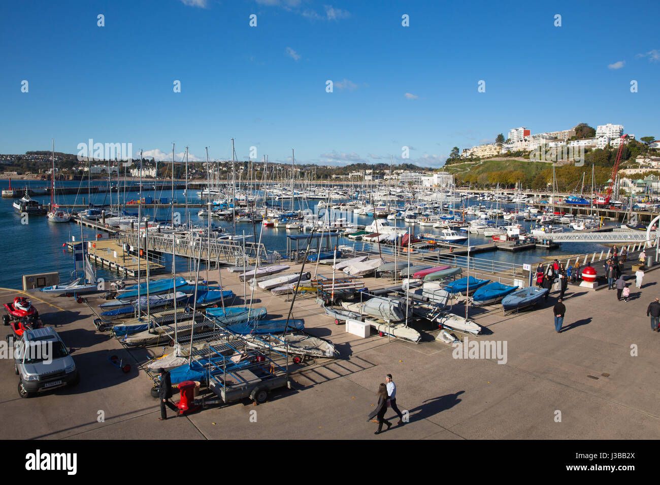 Torquay Devon marina with boats and yachts on beautiful day on the English Riviera - Stock Image