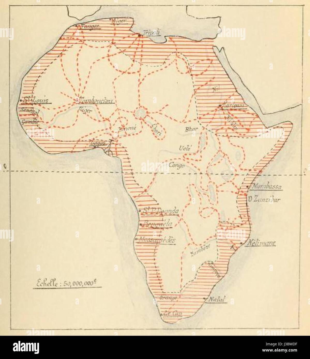 Etat des connaissances sur lAfrique en 1876 - Stock Image