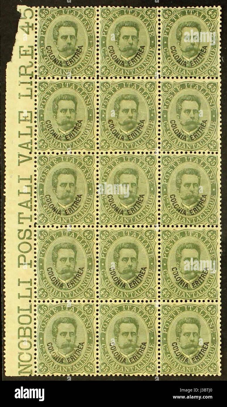 Eritrea 1893 45c block - Stock Image