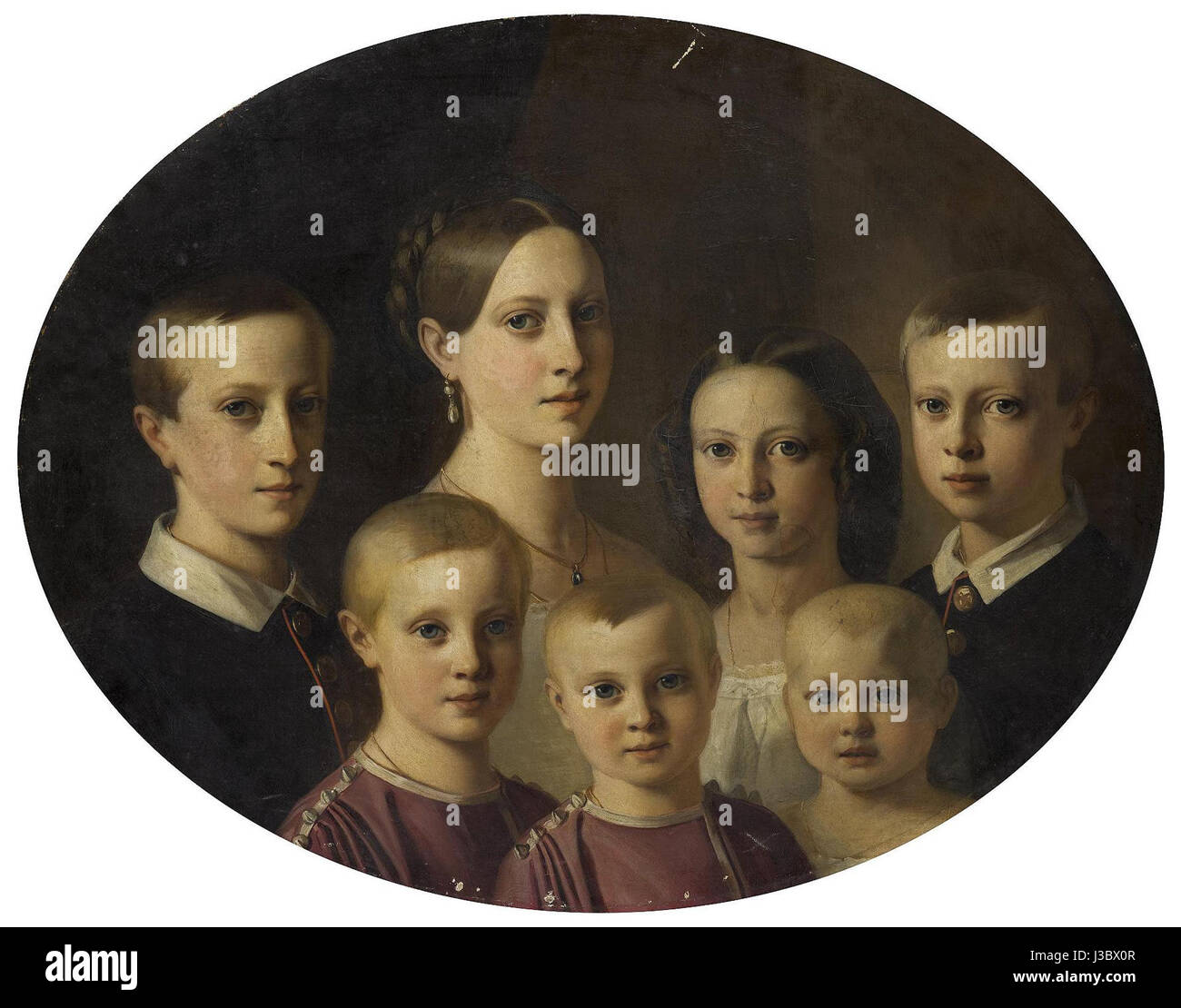 Duke of Oldenburg's children by V.J. De Gronckel (1853, Hermitage) - Stock Image