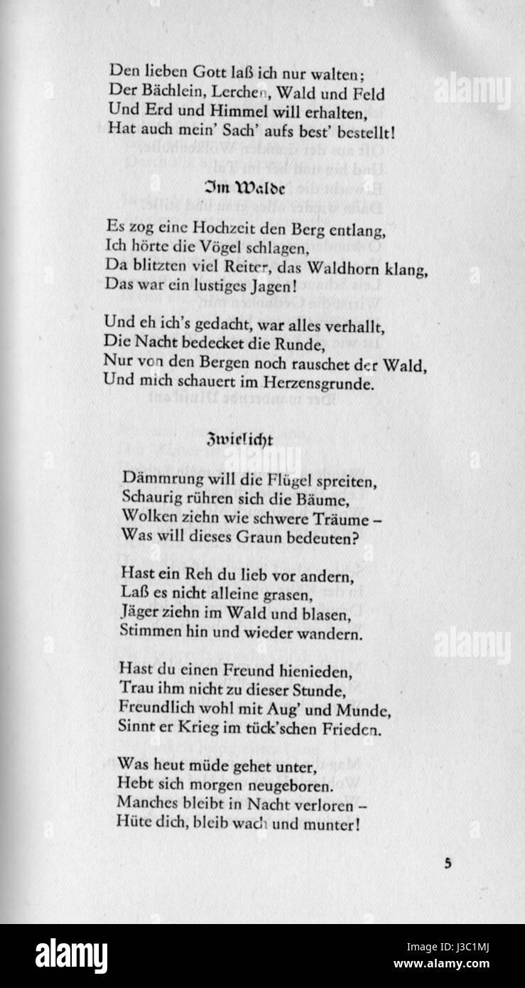 Eichendorff Gedichte Zwielicht Stock Photo 139791698 Alamy