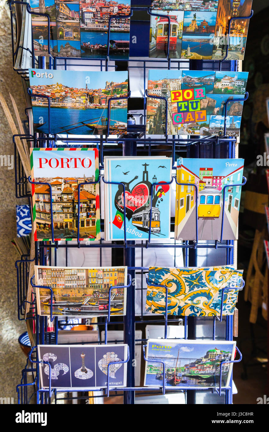 Porto Portugal shop, a display of postcards outside a shop in the Ribeira area of Porto, Portugal, Europe - Stock Image