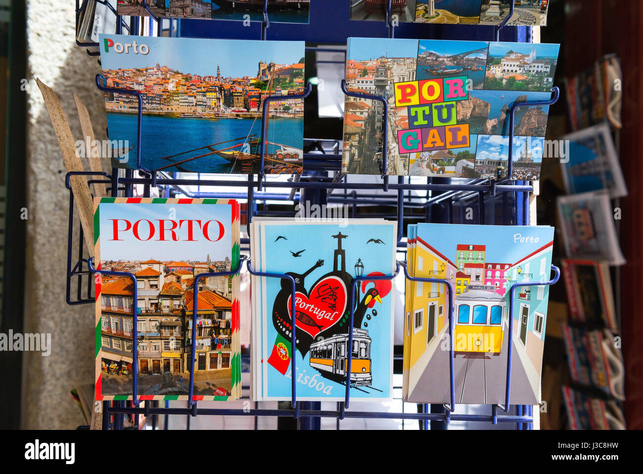 Porto Portugal shop, a display of postcards outside a shop in the Ribeira area of Porto, Portugal, Europe Stock Photo