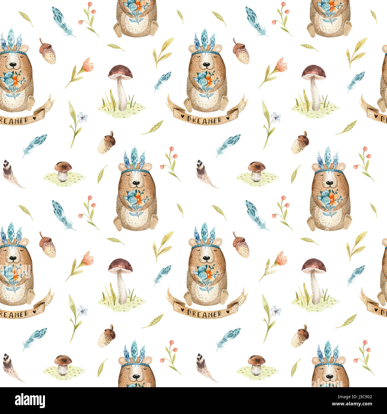 Cute baby bear animal seamless pattern for kindergarten, nursery - Stock Image
