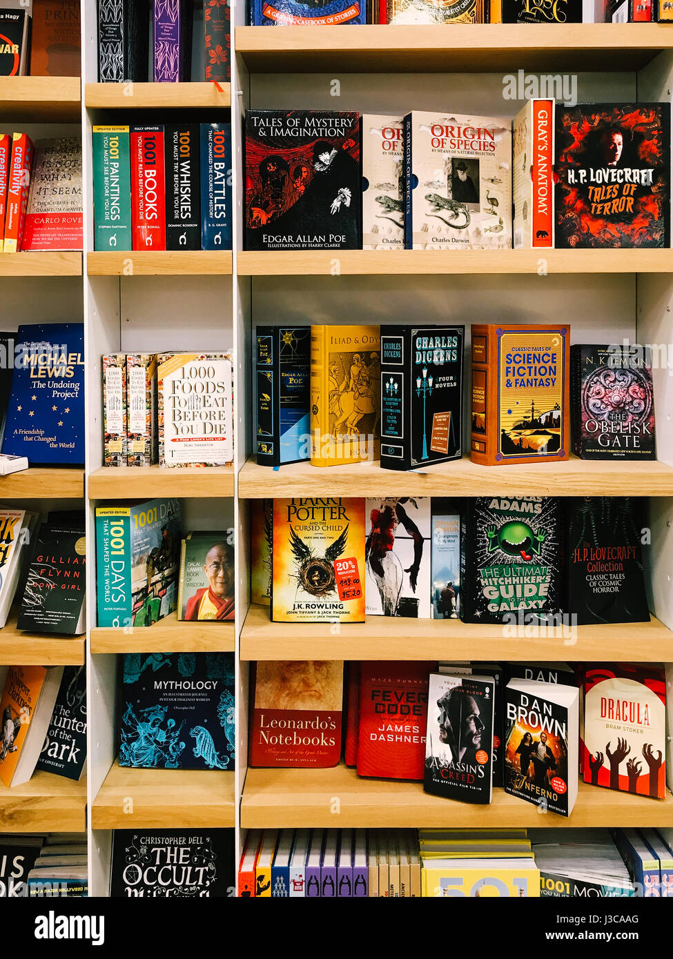 BUCHAREST, ROMANIA - JANUARY 24, 2017: Science Fiction Literature Books For Sale In Bookstore Shelves. - Stock Image