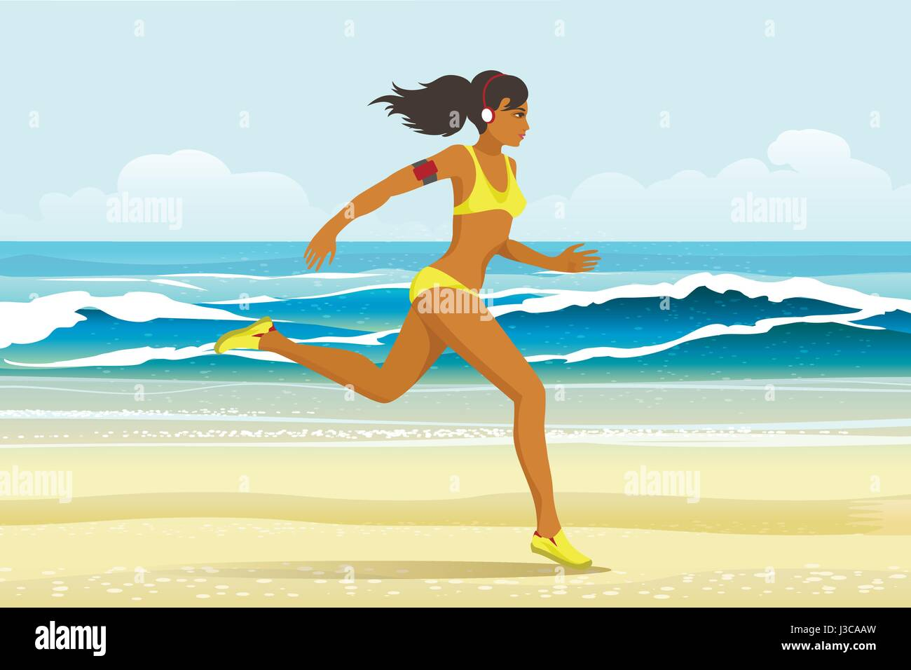 young woman in sporting clothes with headphones running on the beach. Summer activity or Sport concept. Vector illustration - Stock Vector
