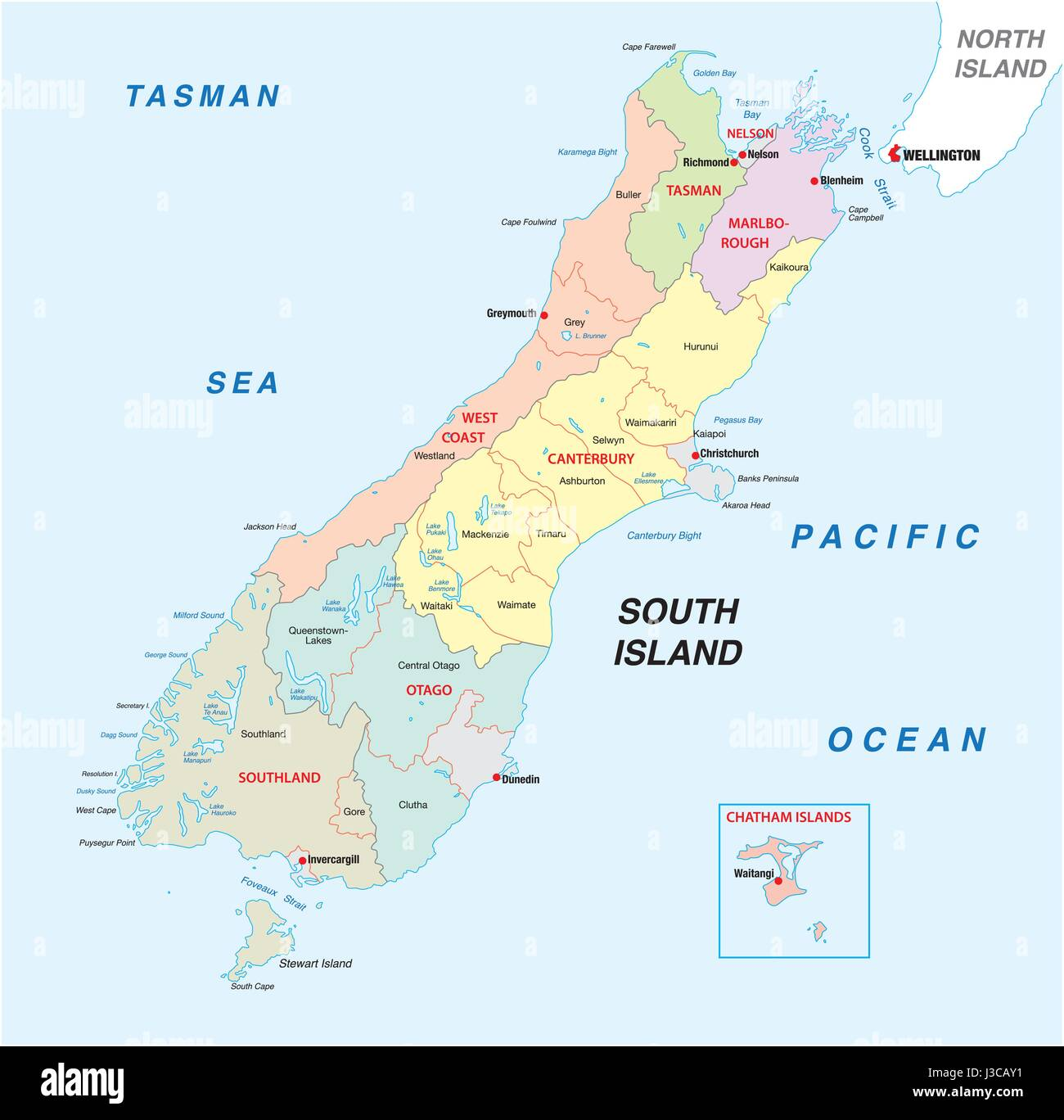 Political Map Of New Zealand.New Zealand South Island Administrative And Political Map Stock
