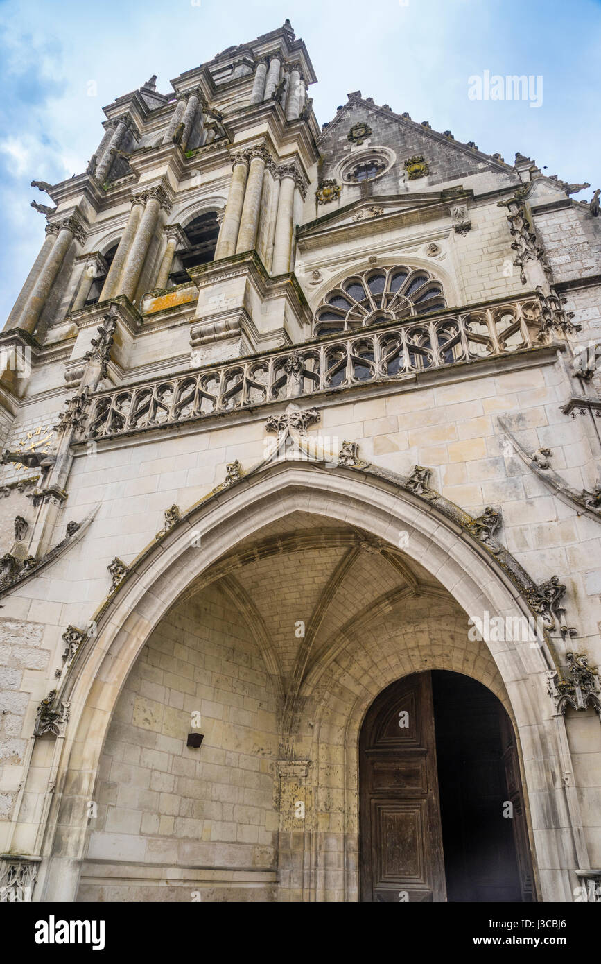 France, Centre-Val de Loire, facade of Blois Cathedral in Late Gothic and early Neoclassical style - Stock Image