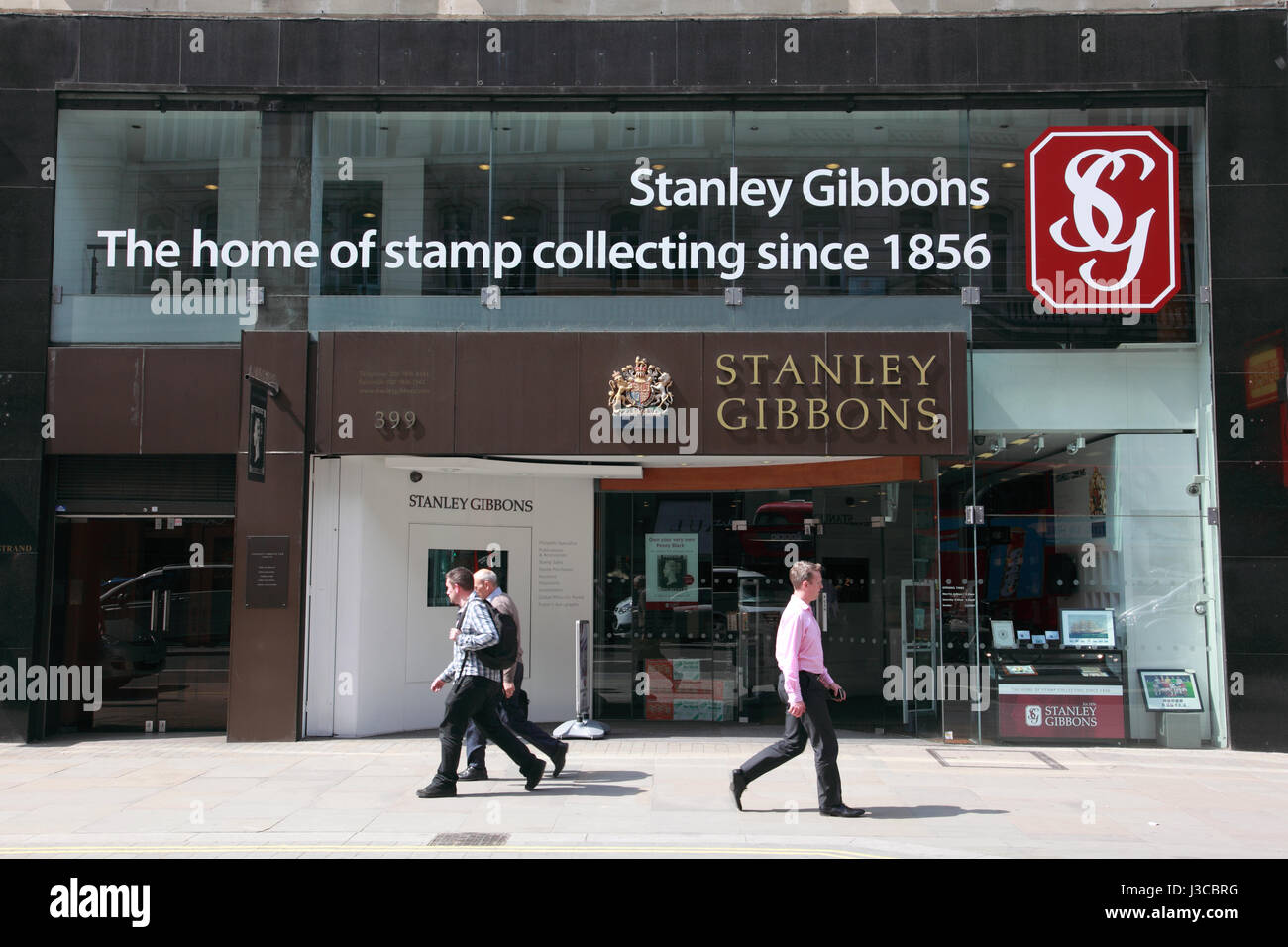 The main office of Stanley Gibbons, philatelic specialists, on the Strand, London - Stock Image