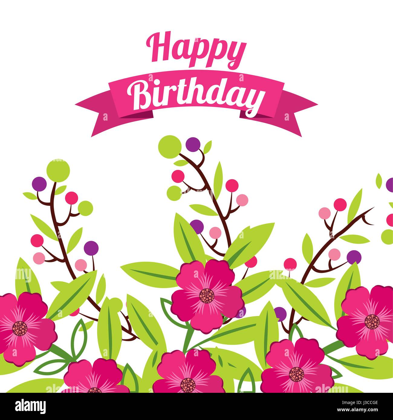 Happy birthday greeting card background vector illustration stock happy birthday celebration poster floral stock image izmirmasajfo