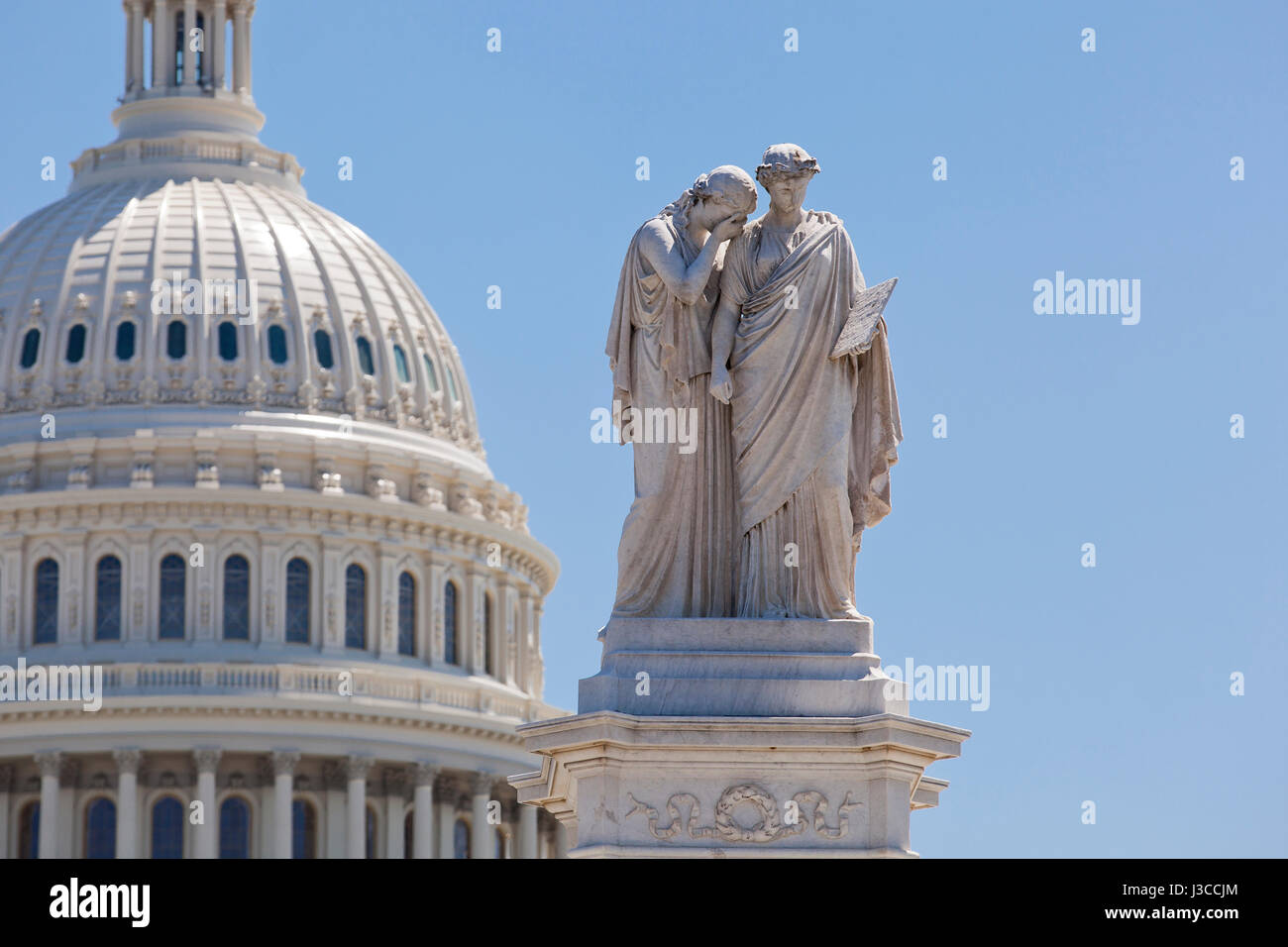 Statue of Grief and History of the Peace Monument at the US Capitol building grounds - Washington, DC USA - Stock Image