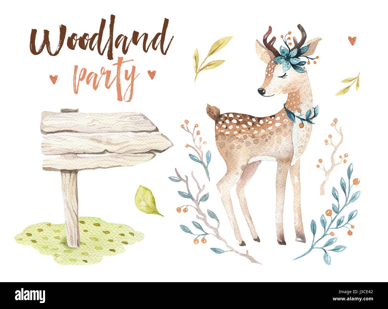 Cute Baby Deer Animal Nursery Isolated Illustration For