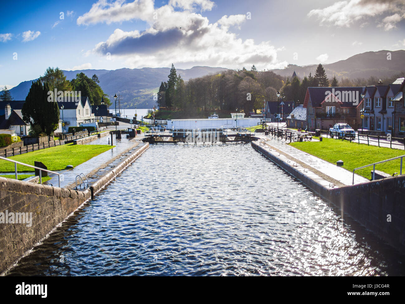 Fort Augustus locks, view towards Loch Ness - Stock Image