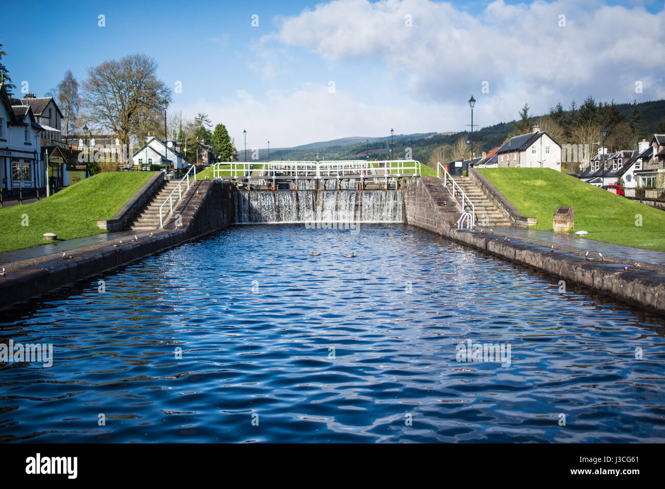 Fort Augustus locks, upper steps, Scotland - Stock Image