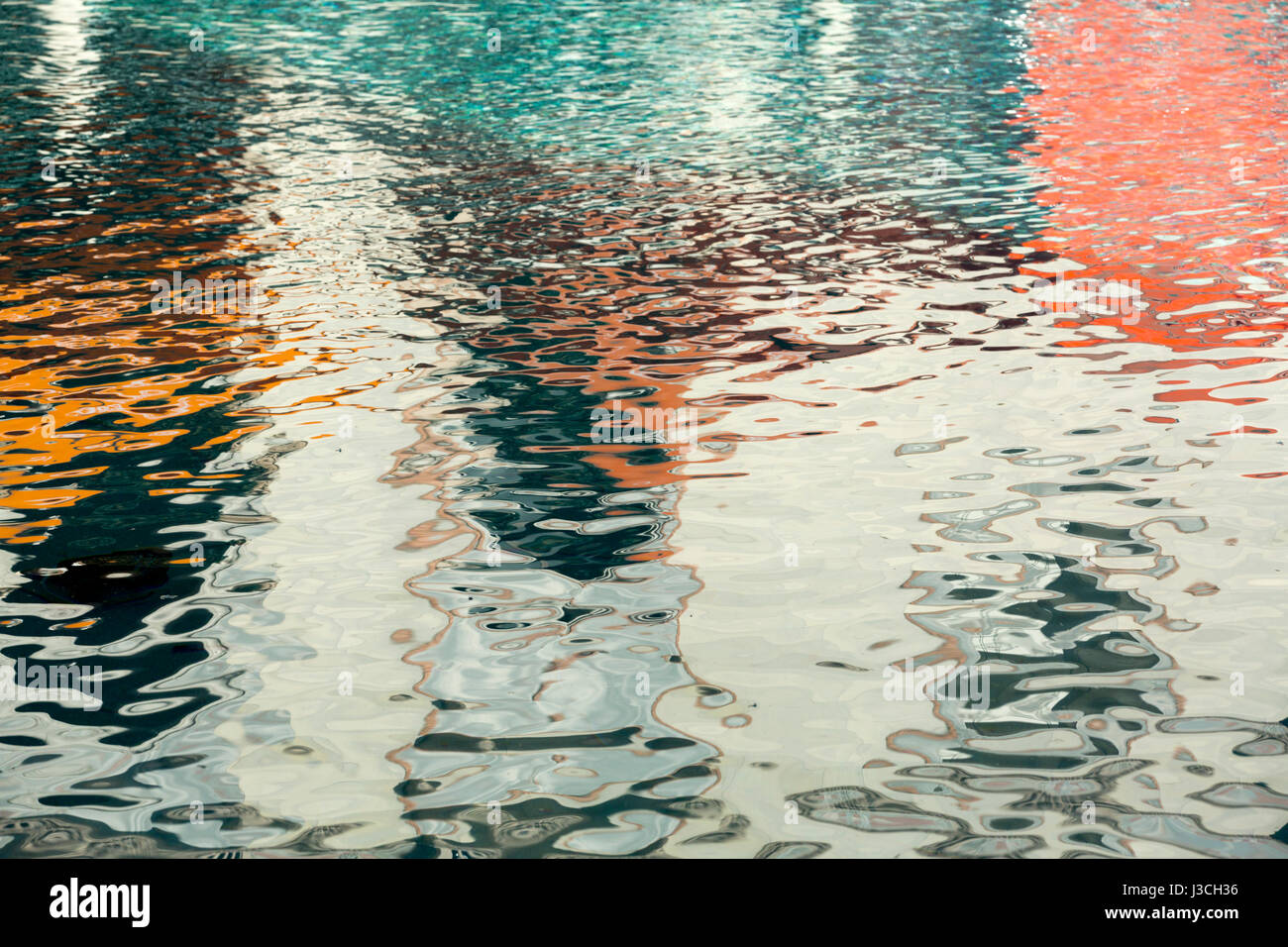 Abstract reflection pattern on a clear water surface - Stock Image
