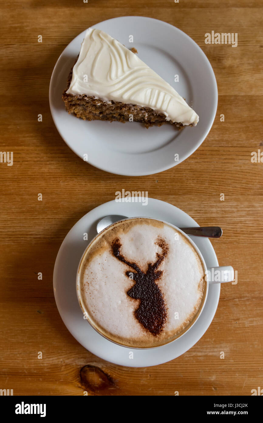 Coffee and cake in the Scottish Highlands - Torridon Stores and cafe, Torridon, - Stock Image