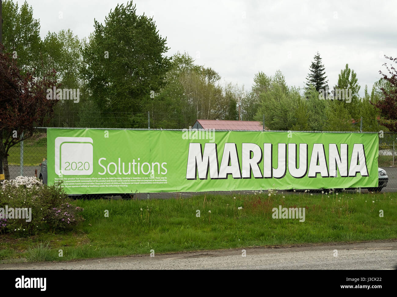 Legal marijuana and canabis store signs along the interstate highway, near Bellingham, Washington State, USA. - Stock Image