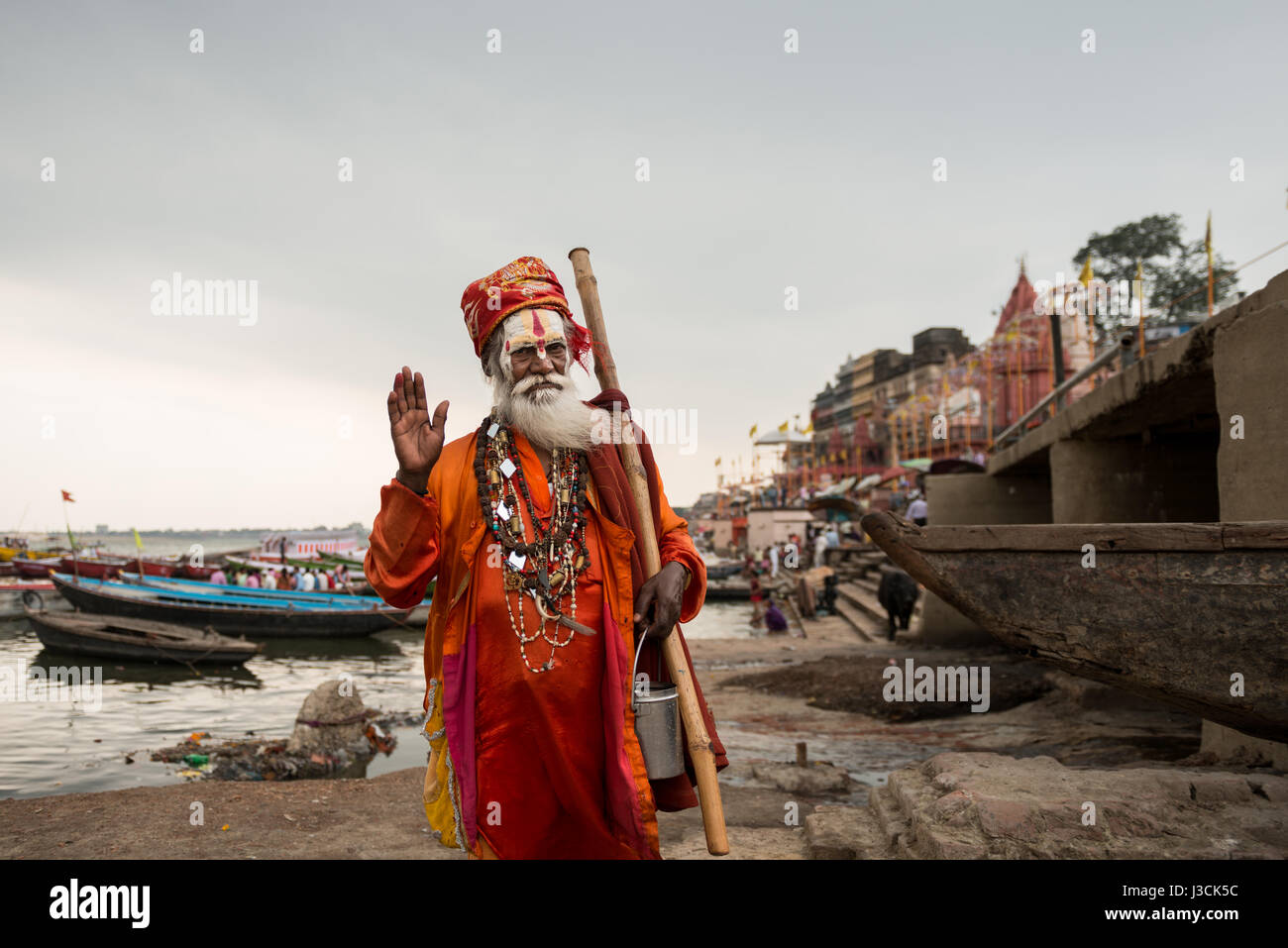 Sadhu in Varanasi, India. - Stock Image