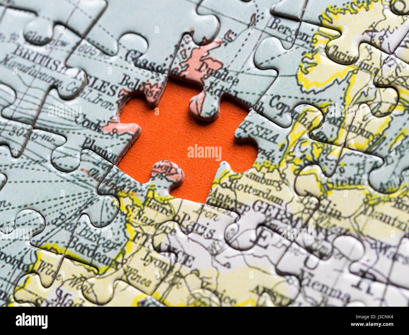 Uk map jigsaw stock photos uk map jigsaw stock images alamy brexit gap uk jigsaw piece missing from map of europe stock image gumiabroncs Gallery