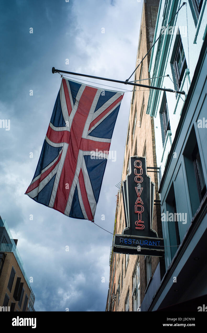 The Quo Vadis restaurant, serving modern British cuisine, on Dean Street in London's fashionable Soho district - Stock Image