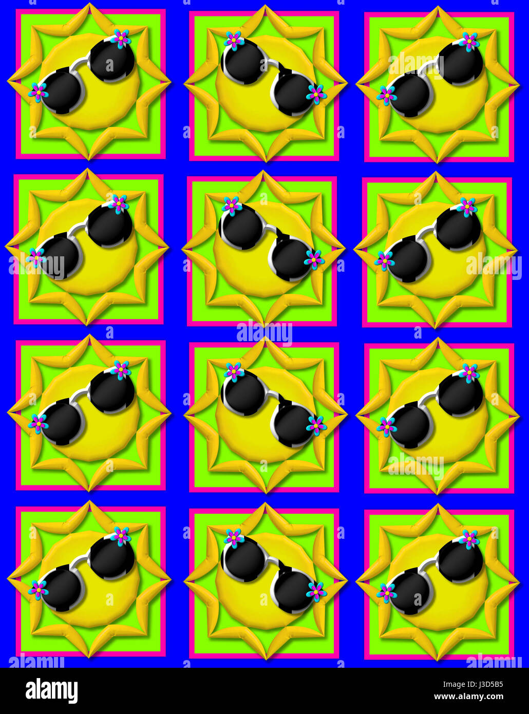 Blue background is decorated with colorful squares.  Squares are topped with yellow sun wearing sunshades. - Stock Image