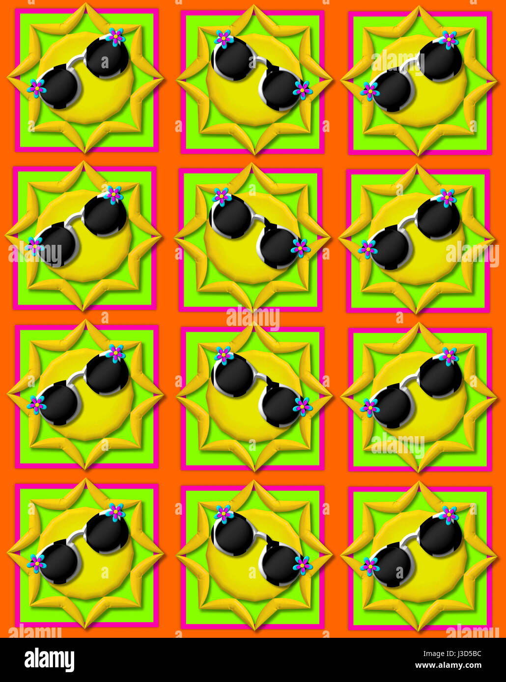 Orange background is decorated with colorful squares.  Squares are topped with yellow sun wearing sunshades. - Stock Image