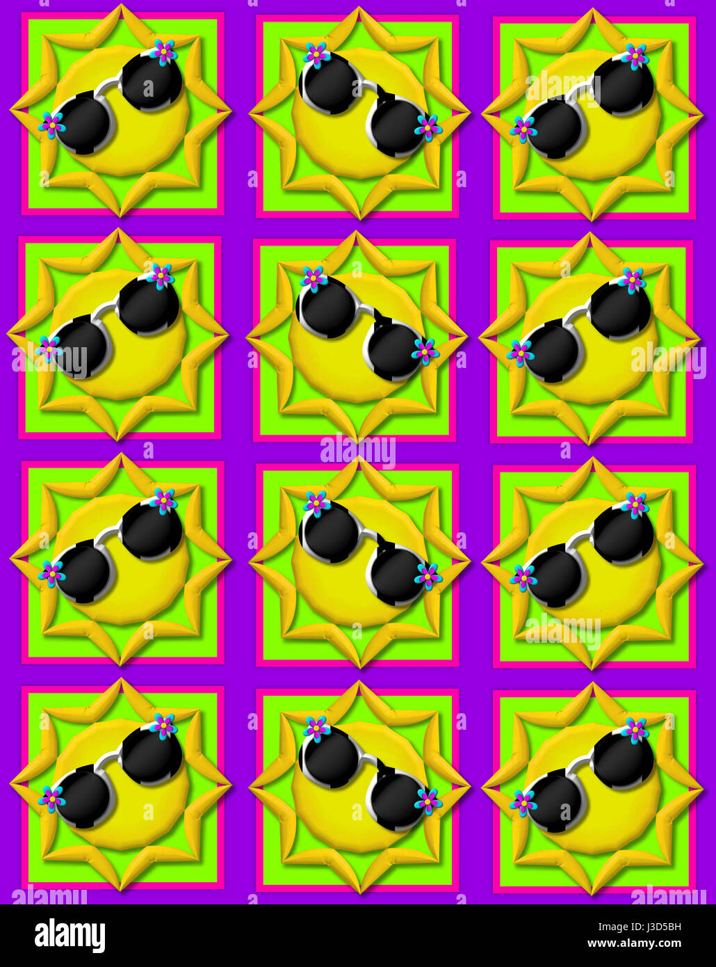 Purple background is decorated with colorful squares.  Squares are topped with yellow sun wearing sunshades. - Stock Image