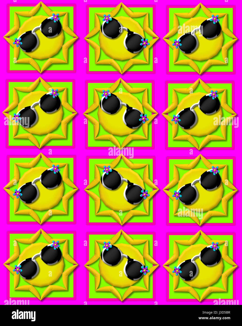Hot pink background is decorated with colorful squares.  Squares are topped with yellow sun wearing sunshades. - Stock Image