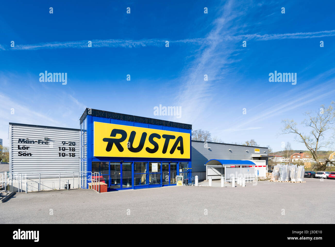 Rusta the Swedish chain of shops with DIY products, furniture, leisure goods and consumables  Model Release: No. - Stock Image