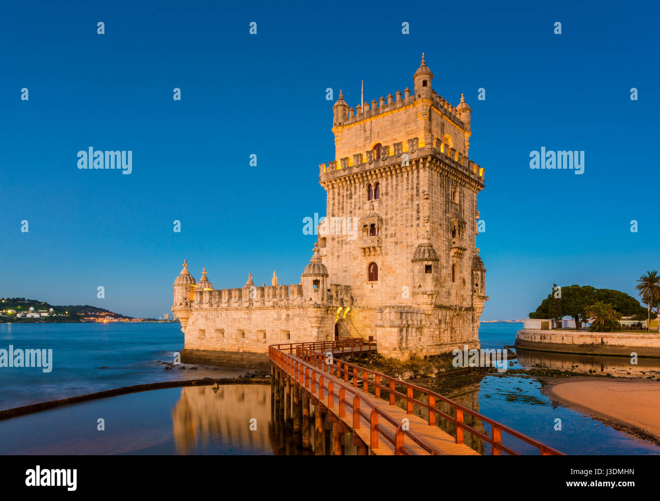 16th Century Belem Tower at the Tagus River in Lisbon, Portugal at sunrise - Stock Image